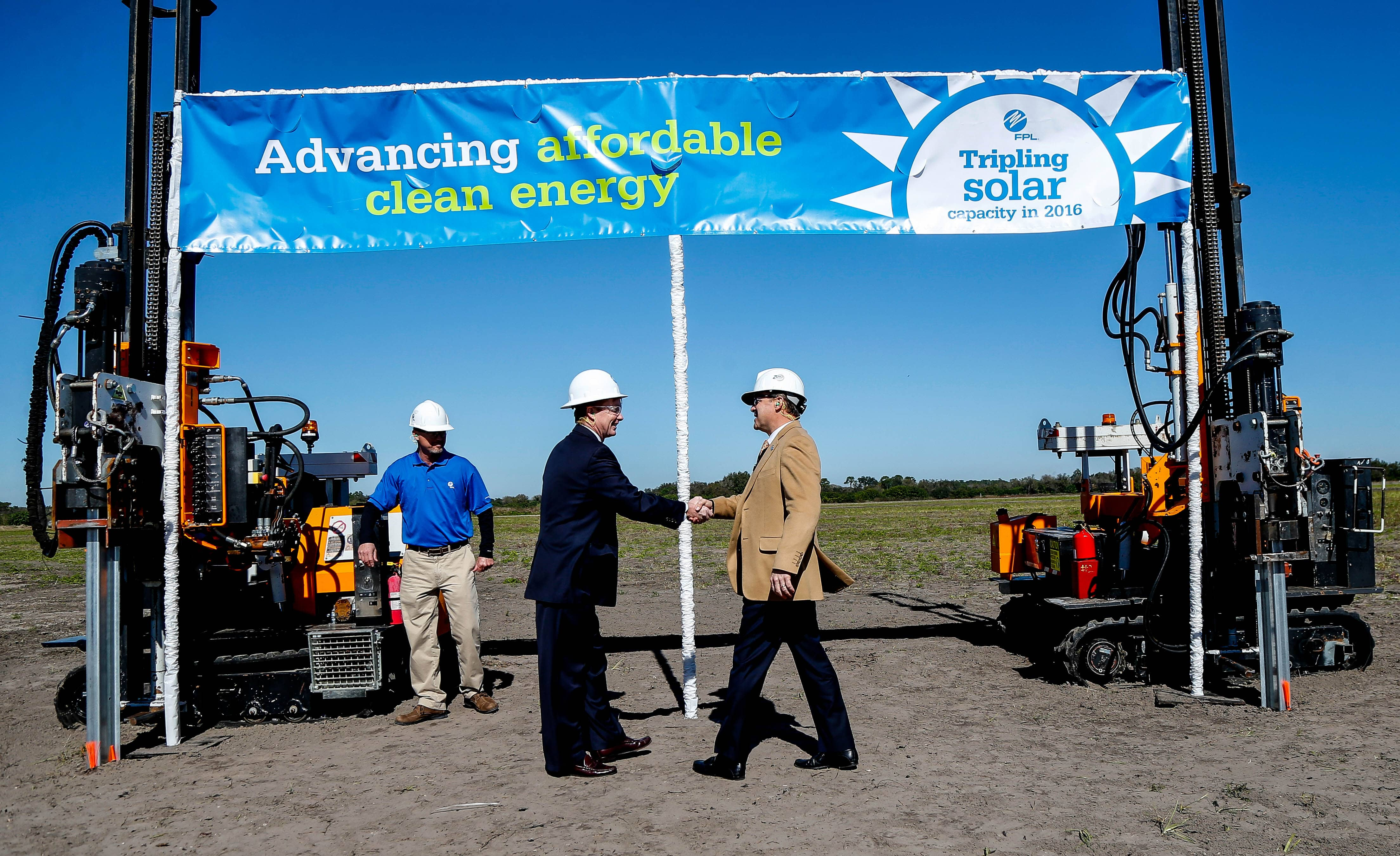 FPL-handshake Florida Power & Light Breaks Ground On Large Solar Projects