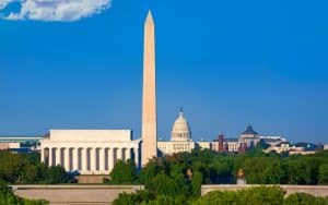 Washington DC skyline with Monument Capitol and Abraham Lincoln memorial