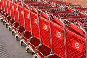 """""""Otsego, Minnesota - March 14, 2008:  Shopping carts are lined up outside of a Target store."""""""