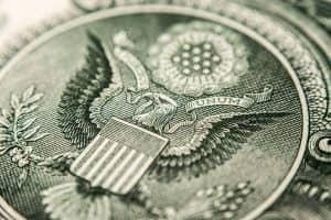 this is image of one US dollar bill, super macro close up imagethis is image of US dollar bill, eagle