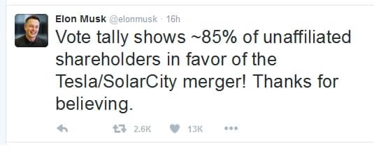 musk-tweet Shareholders Approve Tesla's SolarCity Acquisition