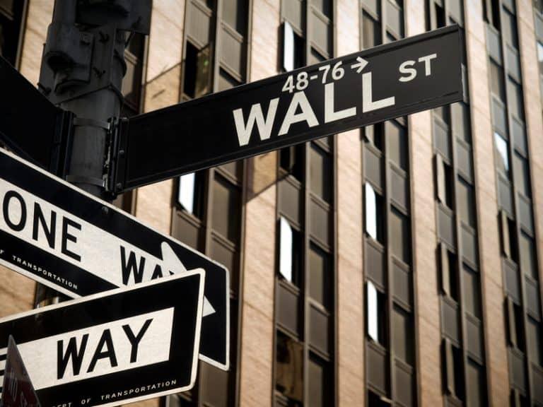 A Wall Street sign in Manhattan New York.