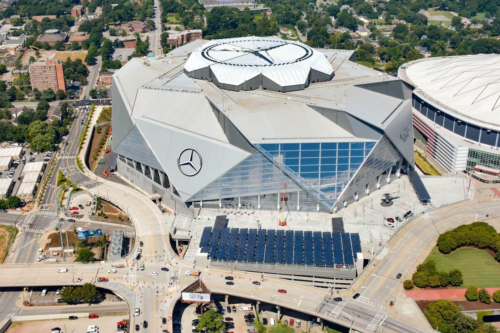 Mercedes benz stadium hosts over 4 000 solar panels for Mercedes benz stadium application